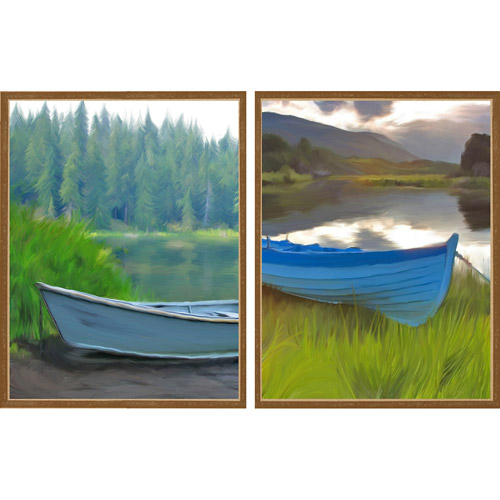 Canoe by the Lake, Set of 2