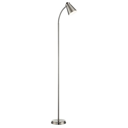 Satco 64 inch gooseneck brushed nickel floor lamp 1 for Satco gooseneck floor lamp