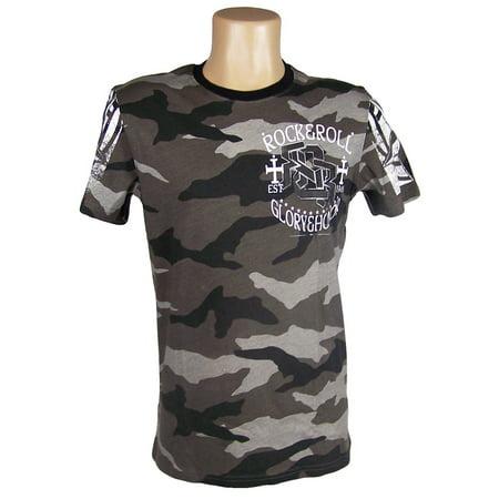 Black Glory Camo Print T Shirt Short Sleeve by Rock & Roll Cowboy 651192