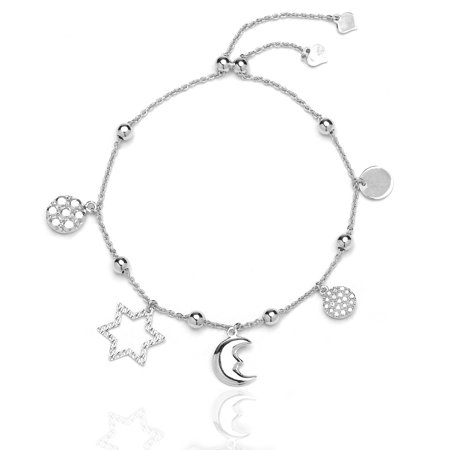 Sterling Silver Adjule Bracelet With Cubic Zirconia Sun Moon And Star Charm For