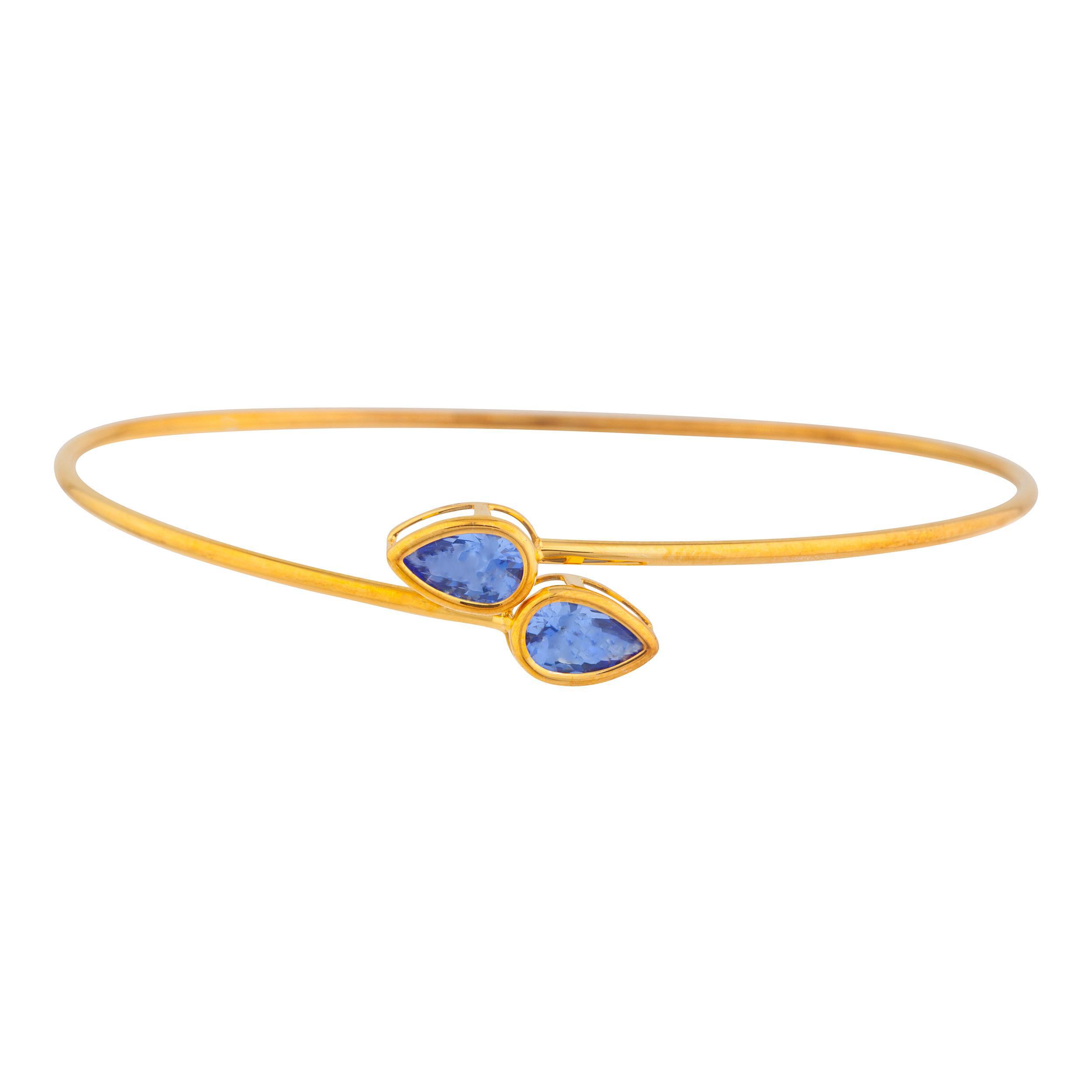 14Kt Yellow Gold Plated Tanzanite Pear Bezel Bangle Bracelet by Elizabeth Jewelry Inc