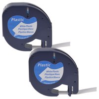 GREENCYCLE 2PK 12mm 4m Black on White Plastic Label Tape for Dymo 91331 91201 91221 59422 S0721660 LetraTag Printer