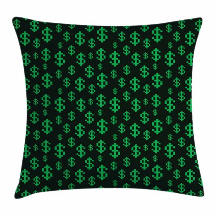 Dollar Cover (Money Throw Pillow Cushion Cover, Pixel Art Inspirations in Eighties Style Dollar Sign Banking Business, Decorative Square Accent Pillow Case, 18 X 18 Inches, Dark Green Lime Green, by)