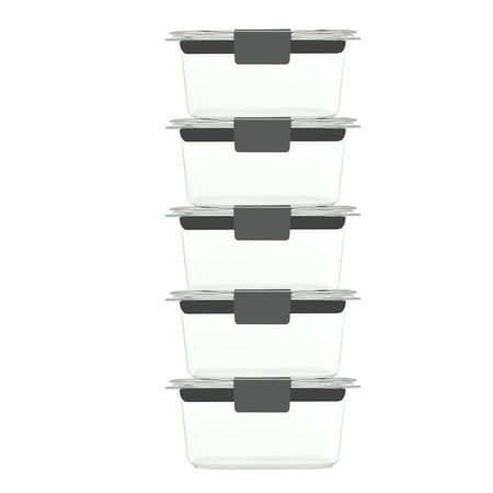 Rubbermaid Brilliance Food Storage Containers, Leak-Proof, BPA Free, Clear Tritan Plastic, 1.3 Cup, Set of 5