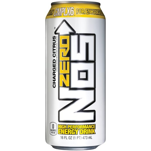 NOS Zero Charged Citrus High Performance Energy Drink, 16 fl oz