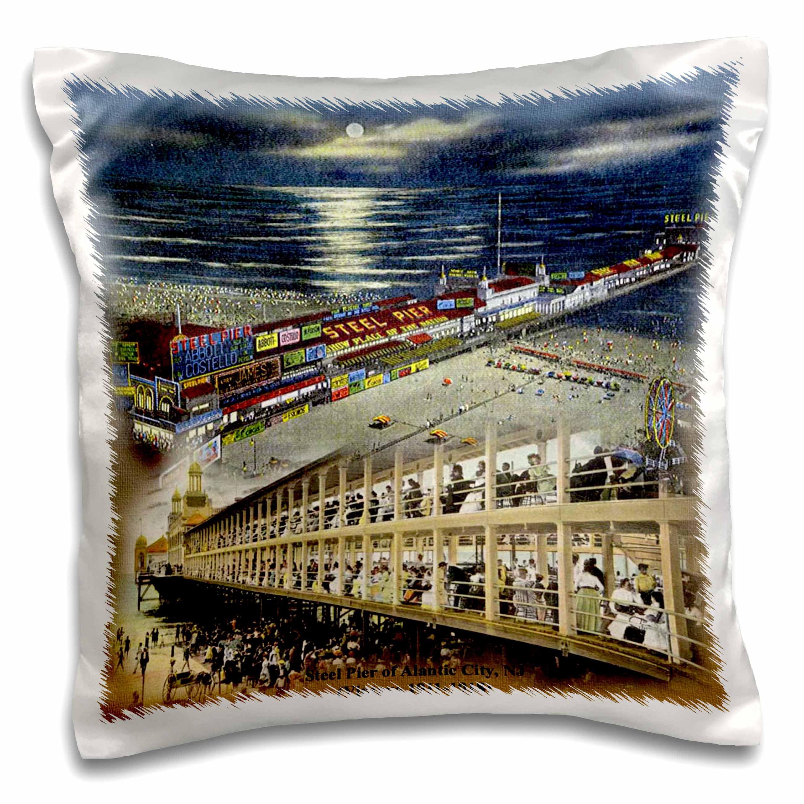3dRose Steel Pier of Atlantic City, NJ (Vintage 1911-1918), Pillow Case, 16 by 16-inch