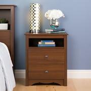 Prepac Monterey Tall 2-Drawer Nightstand with Open Shelf, Cherry