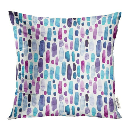 ARHOME Colorful Abstract of Watercolor Blue Deep Violet and Pink Splashes Purple Blot Brush Pillow Case Pillow Cover 18x18 inch Throw Pillow Covers
