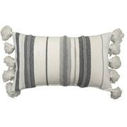 Better Homes & Gardens Decorative Throw Pillow, Stripe Oversize, Oblong, Ivory/Grey, 14'' x 24'', 1Pack