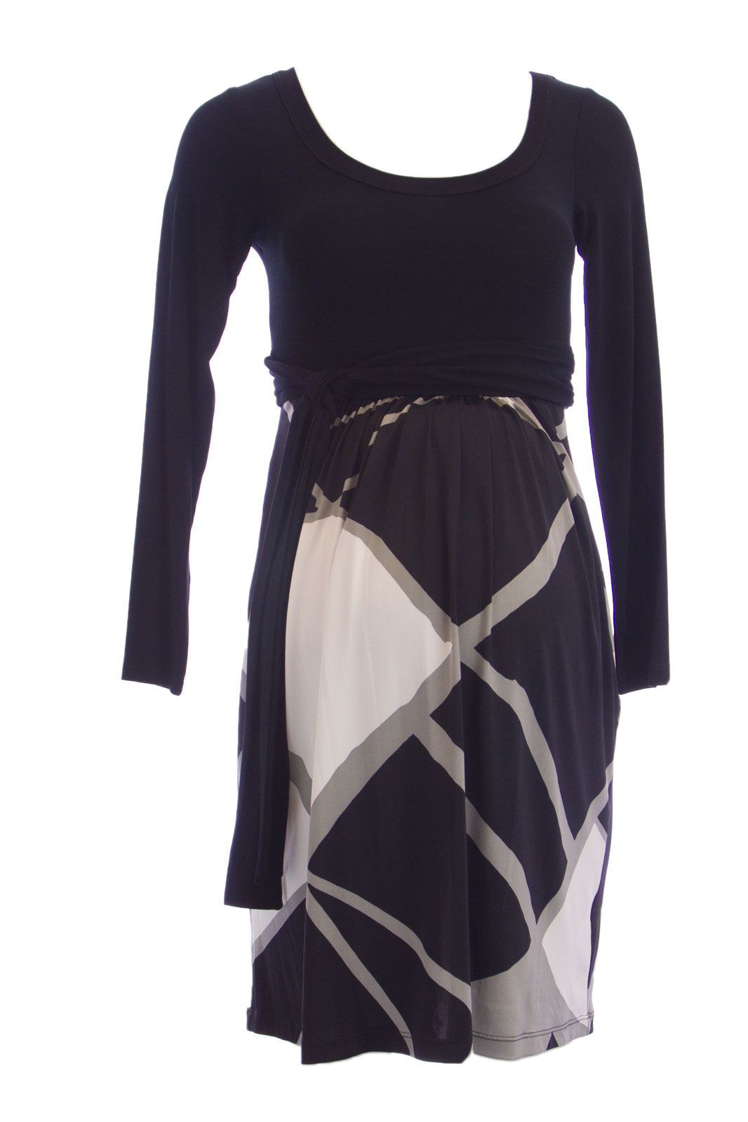 OLIAN Maternity Women's Abstract Print Contrast Skirt Dress X-Small Black by N068