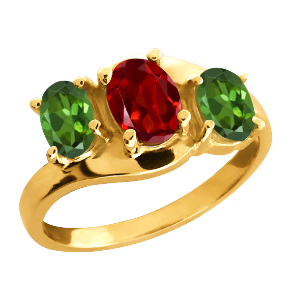 1.70 Ct Oval Red Garnet and Green Tourmaline 18k Yellow Gold Ring by