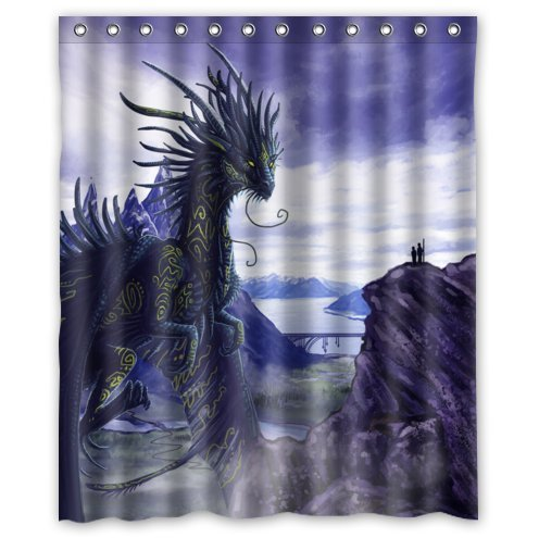 Ganma It Dragon And Human Conversation Design Stall Shower Curtain Polyester Fabric Bathroom Shower Curtain 60x72 inches
