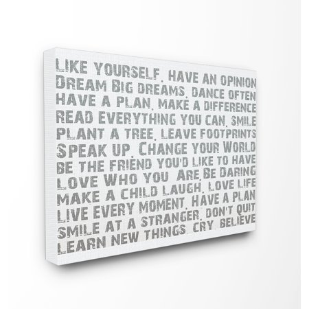 The Stupell Home Decor Collection Like Yourself Inspirational Typography Stretched Canvas Wall Art, 30 x 1.5 x 40 ()