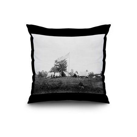 Army Camp Civil War Photograph 20x20 Spun Polyester Pillow Black Borde