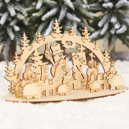 Jorlo Christmas Wooden Piece DIY Three-Dimensional Homemade Ornaments with Base Three-Dimensional Decorations ()