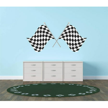 Race Car Racing Checkered Flags Vinyl Wall Decal, 12