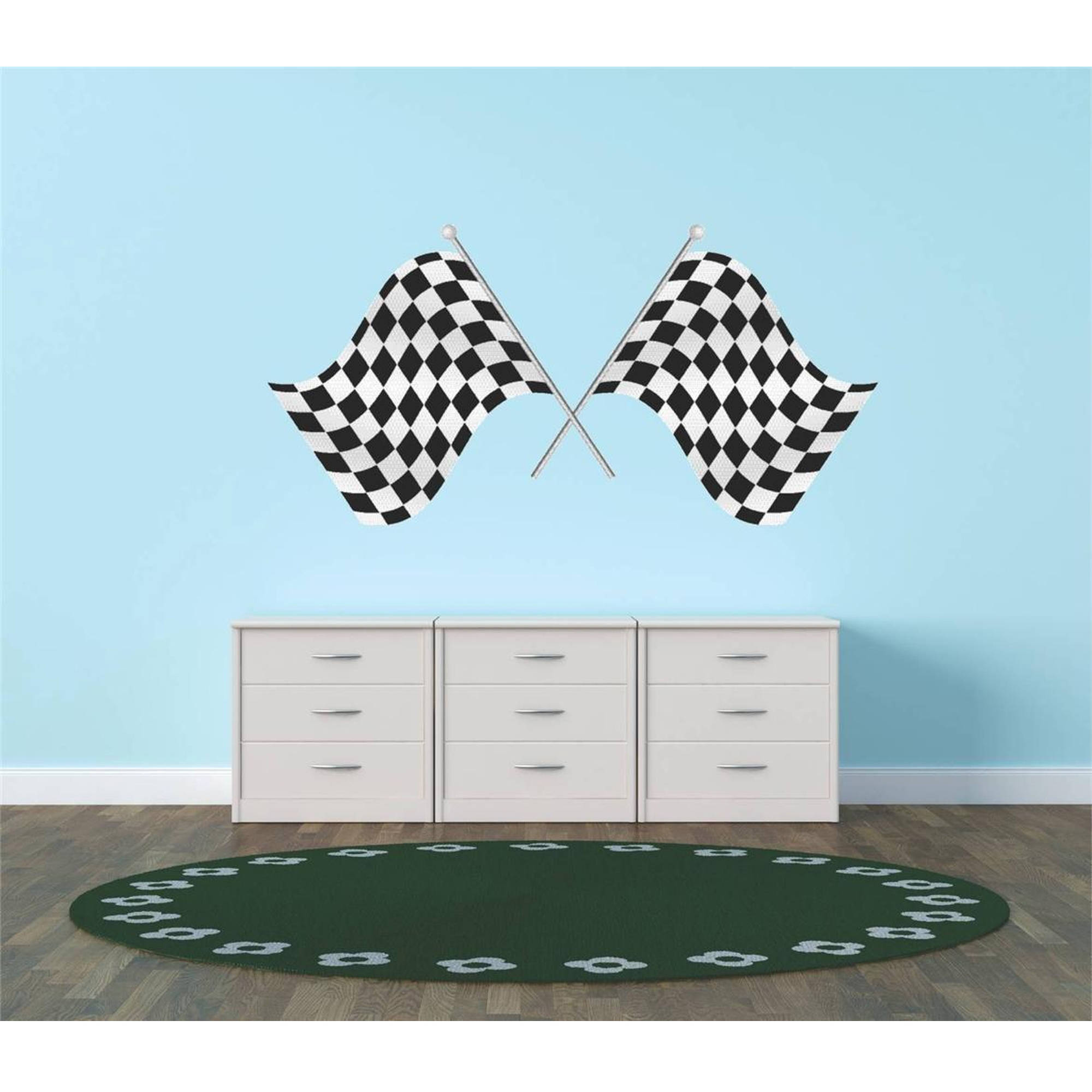 "Race Car Racing Checkered Flags Vinyl Wall Decal, 12"" x 26"", Black and White"