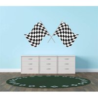 """Race Car Racing Checkered Flags Vinyl Wall Decal, 12"""" x 26"""", Black and White"""
