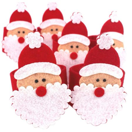 Mosunx 6Pcs Christmas Santa Claus Napkin Rings Serviette Holder Table Serviette Xmas