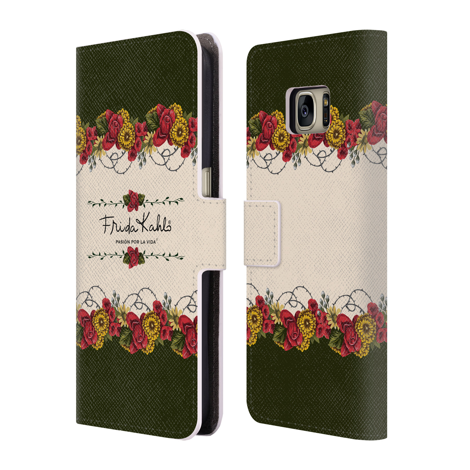 OFFICIAL FRIDA KAHLO RED FLORALS LEATHER BOOK WALLET CASE COVER FOR SAMSUNG PHONES 1