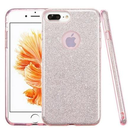 (iPhone 8 Plus Glitter Case, by Insten Glitter Bling Hybrid Hard Plastic / Soft Flexible Rubber Case Cover for Apple iPhone 8 Plus / iPhone 7 Plus - Pink)