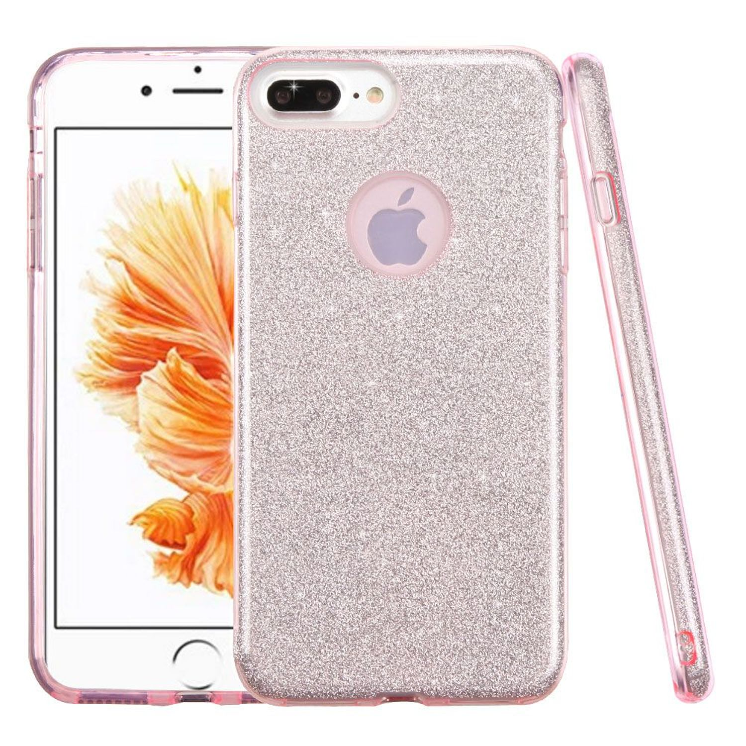 iPhone 8 Plus Glitter Case, by Insten Glitter Bling Hybrid Hard Plastic / Soft Flexible Rubber Case Cover for Apple iPhone 8 Plus / iPhone 7 Plus - Pink