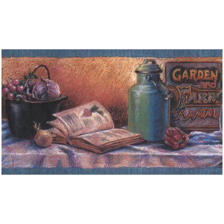 Prepasted Wallpaper Border - Kitchen Table Vegetables Fruits Berries Garden Manual Vintage Wall Border Retro Design, Roll 15 ft. x 7 in.