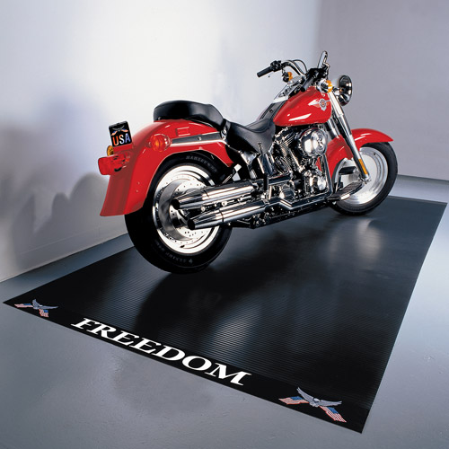 G-Floor Freedom Motorcycle Mat, 5' x 10', Ribbed, Freedom Label, Black