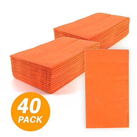 SparkSettings Big Party Pack Tableware 2 Ply Guest Towels Hand Napkins Paper Soft and Absorbent Decorative Hand Towels for Kitchen and Parties 40 Pieces Orange Peel (Decorative Napkins)