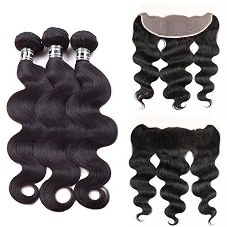 Beroyal Free Part Ear to Ear Frontal with 3 Bundles Indian Virgin Hair Body Wave Human Hair Weave, 18