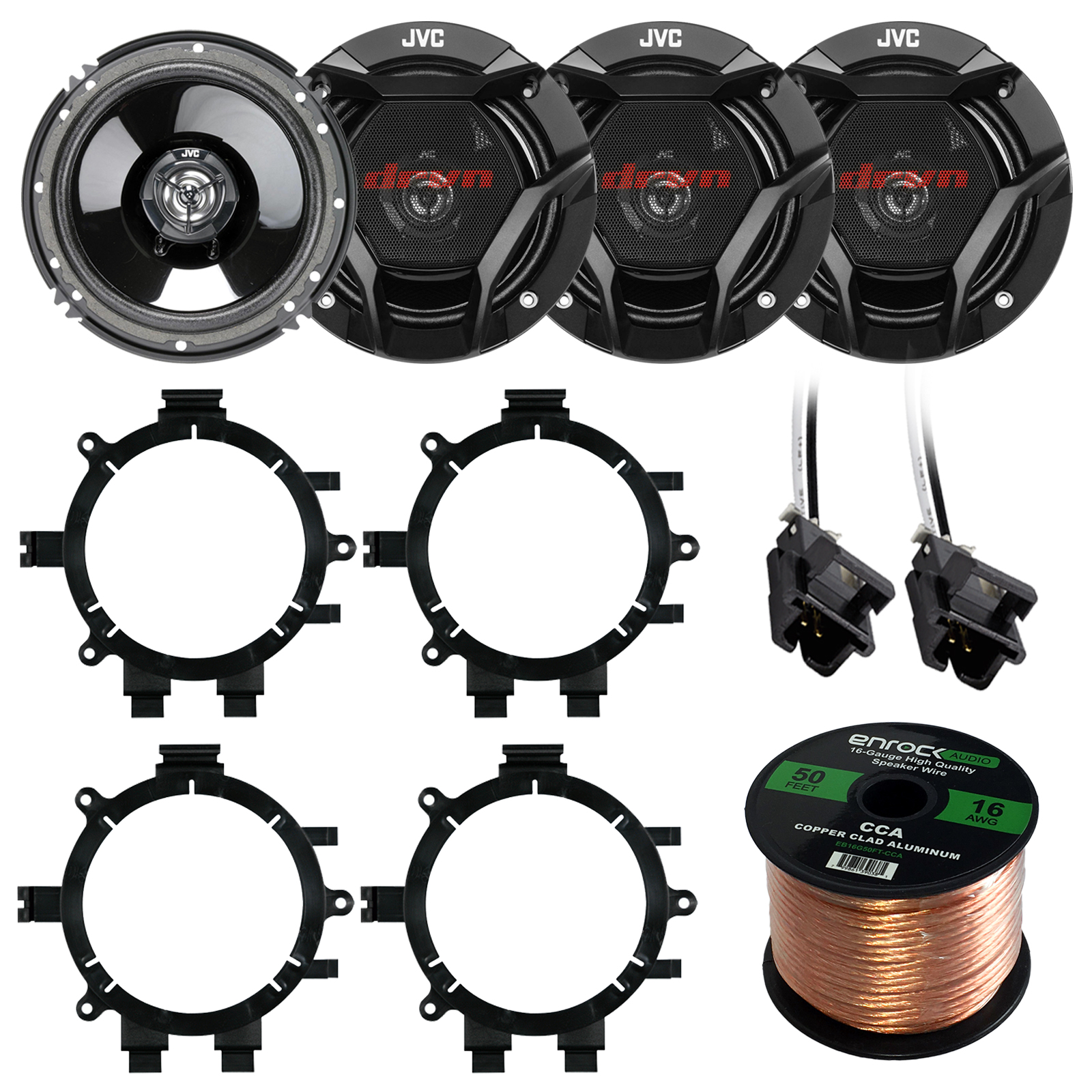 "Car Speaker Package Of 4X JVC CS-DR620 6.5"" Inch 300 Watt 2-Way Audio Stereo Coaxial Speakers Bundle Combo With Full Size Speaker Adaptors And Wiring Harness + 50Ft Wire For 1995-2009 GM Vehicles"