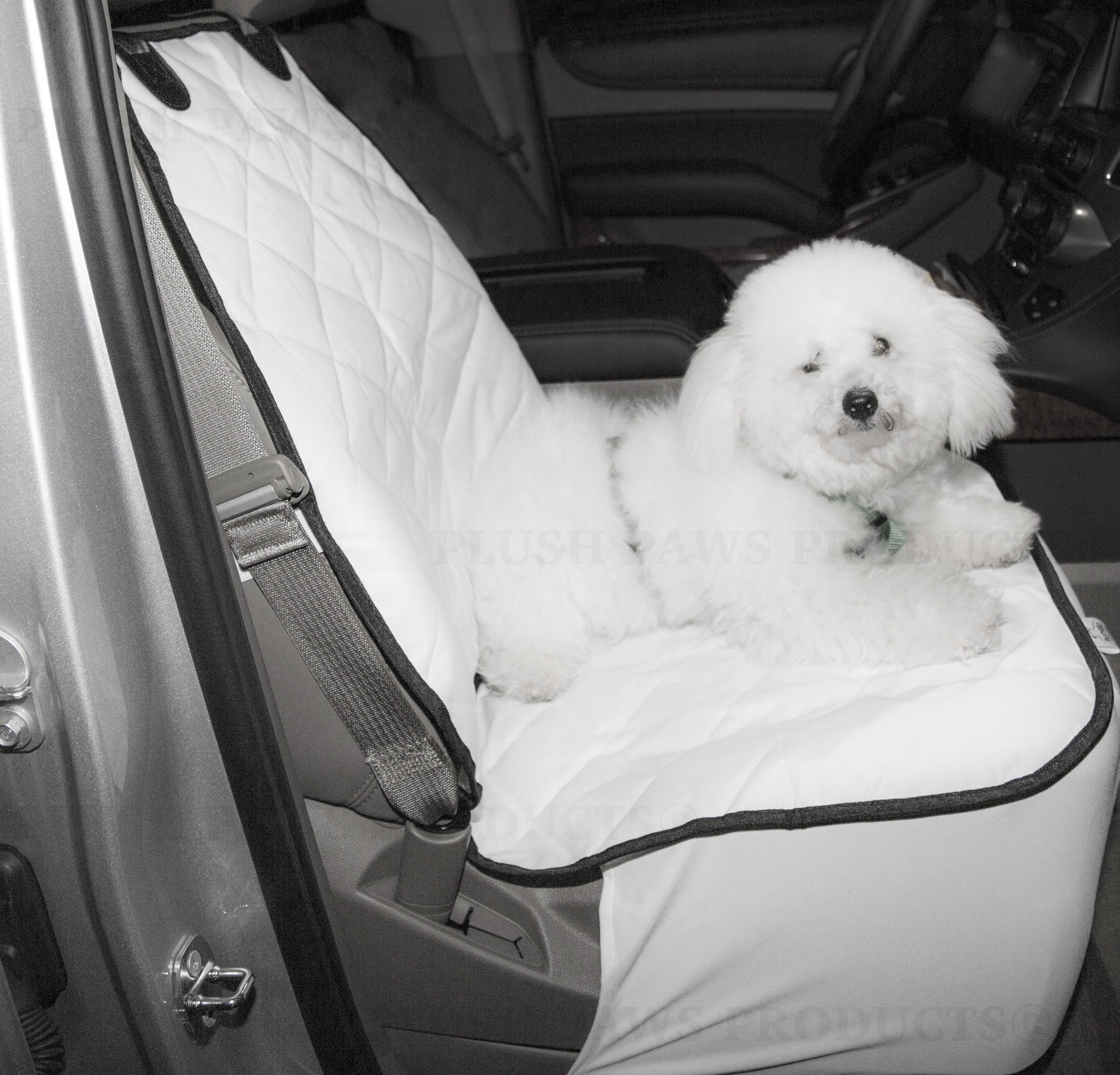 Plush Paws Products Co-Pilot Bucket Car Seat Cover - White