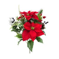Mainstays Red & Blue Poinsettia Berry Bouquet
