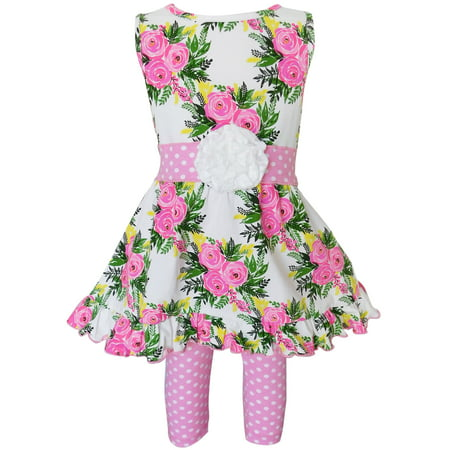 AnnLoren Girls Spring Rose Shabby Floral Dress & Capri Legging Clothing Outfit