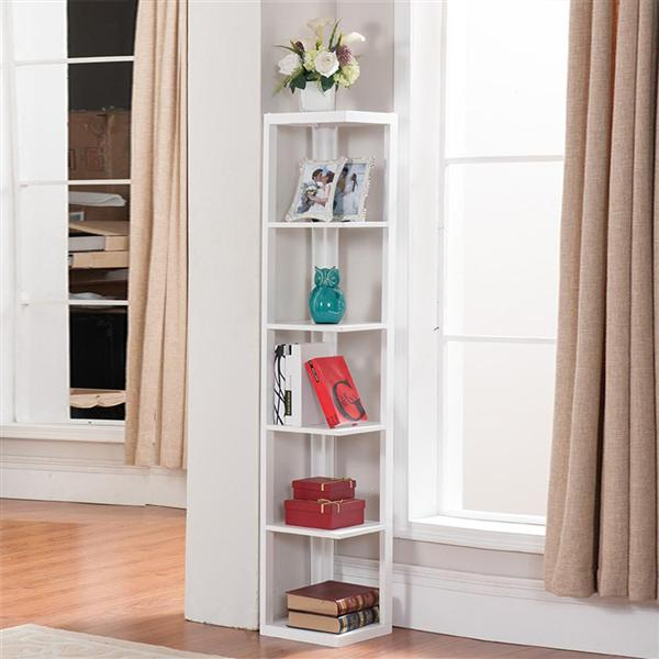 Yaheetech 5 Tier Finish Wood Wall Corner Shelf Slim Bookshelf/Bookcase Tall Display Rack