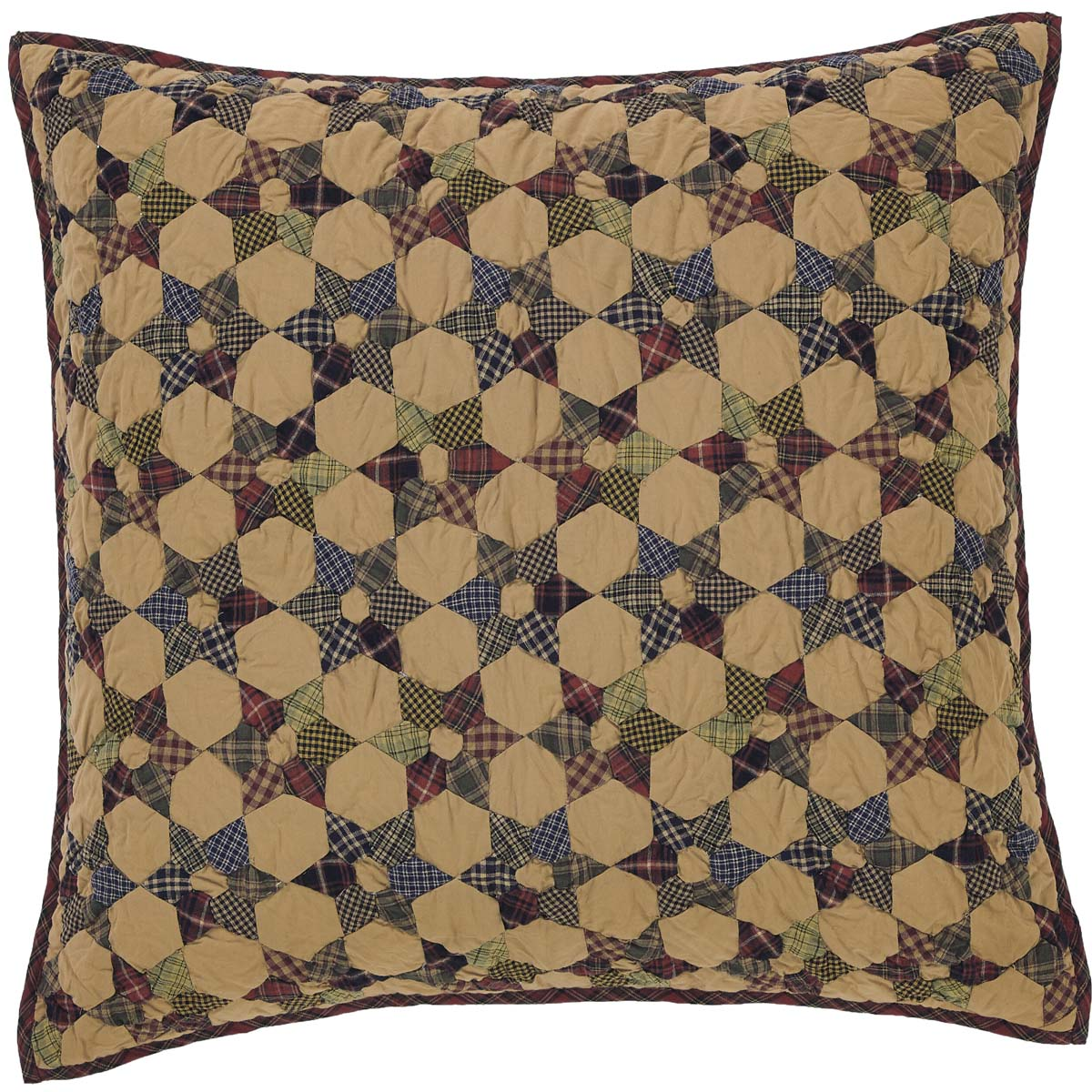 Dark Tan Primitive Bedding Kilton Star Cotton Hand Quilted Patchwork Star Euro Sham
