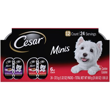 CESAR Minis Wet Dog Food Tender Loaf in Sauce Variety Pack, Filet Mignon Flavor and Angus Beef Flavor, (12) 2.64 oz. Easy Peel Twin Pack Trays Filet Mignon Flavor