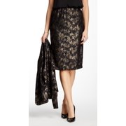 Bobeau NEW Black Gold Women's Size Large L Straight Pencil Printed Skirt