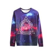 Men's Round Neck Long Sleeves Geometric Prints Leisure Sweatshirt (Size M / 40)