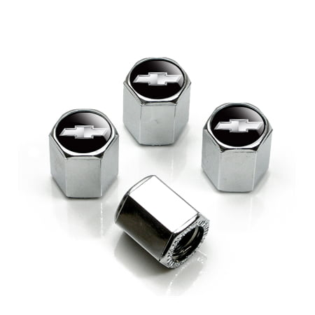 Chrome Chevrolet Solid Silver Logo Tire Stem Valve Caps