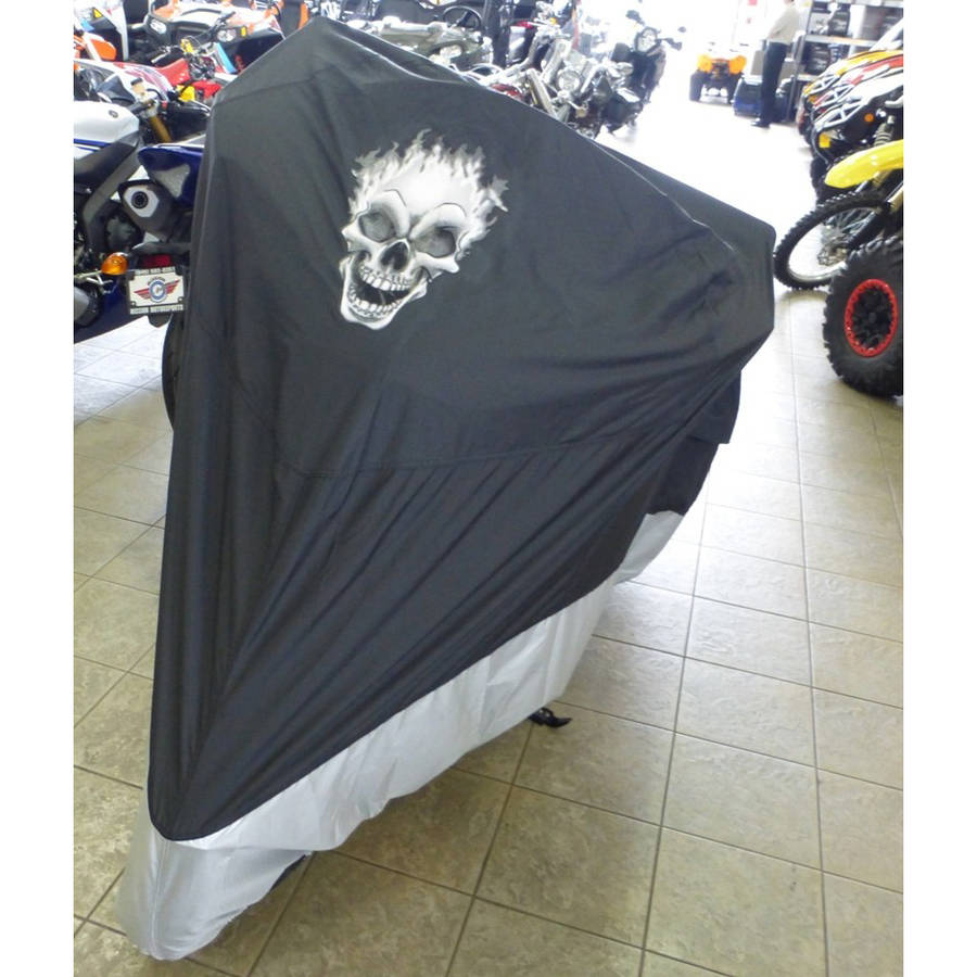 "Formosa Covers Deluxe all season Motorcycle cover FLAME SKULL logo in Black. Fits up to 108"" length Large cruiser, Touring, Chopper."