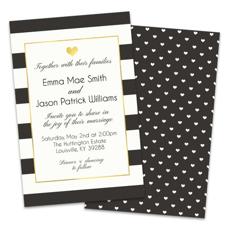 Personalized Hearts and Stripes Wedding Invitations