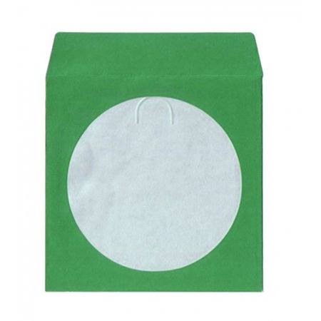CheckOutStore 300 Green Color Paper CD Sleeves with Window & Flap