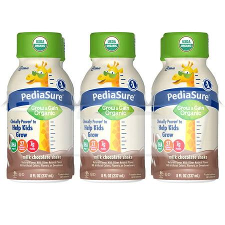 PediaSure Organic Kid's Nutrition Shake, Non-GMO, No Artificial Flavors Or Colors, No Artificial Growth Hormones, 7g Protein, 32mg DHA Omega-3, Milk Chocolate, 8 fl oz, 24 Count ()
