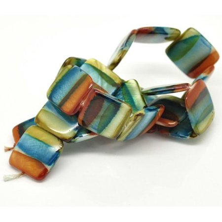 20mm Puffed Square Mother of Pearl Shell 15, Loose Beads, Dyed Orange Blue (20mm Pearl Beads Bulk)