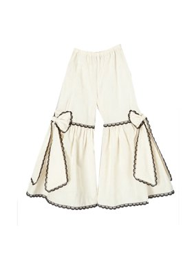 Little Girls Ivory Black Scalloped Lace Trim Bow Accented Flare Pants 12M-6