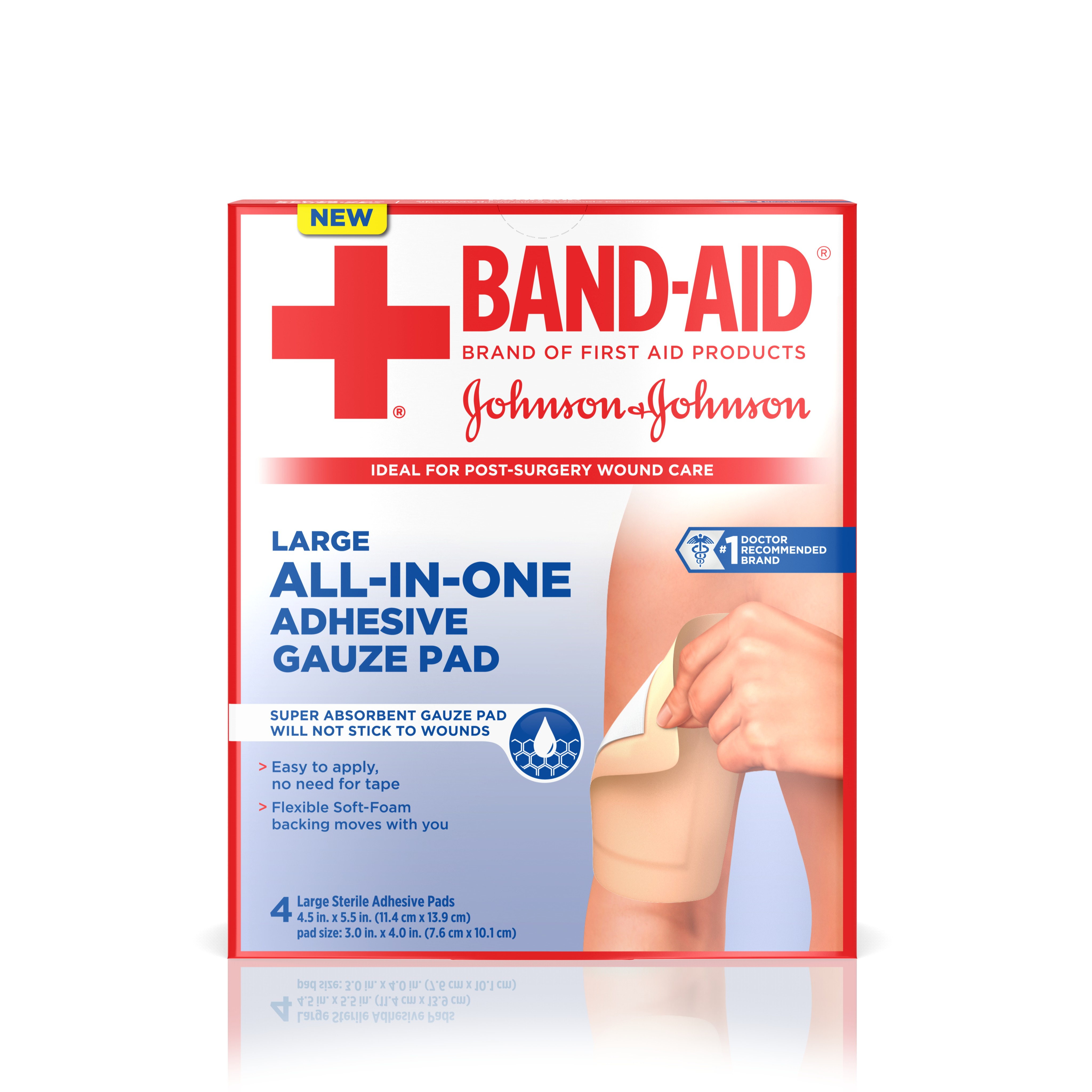 Click here to buy BAND-AID Brand of First Aid Products All-in-One Adhesive Gauze Pad Helps to Keep Wounds Clean, Large by Johnson & Johnson.