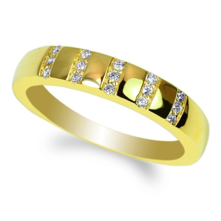 JamesJenny Ladies 14K Yellow Gold Round CZ Embedded Pretty Wedding Band Ring Size 4-10 - Cheap Pretty Rings
