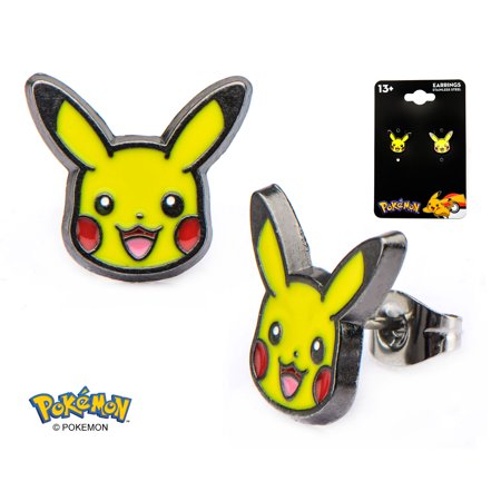 - Officially Licensed Pokemon Pikachu Head Stud Earrings Electric Type Stainless Steel