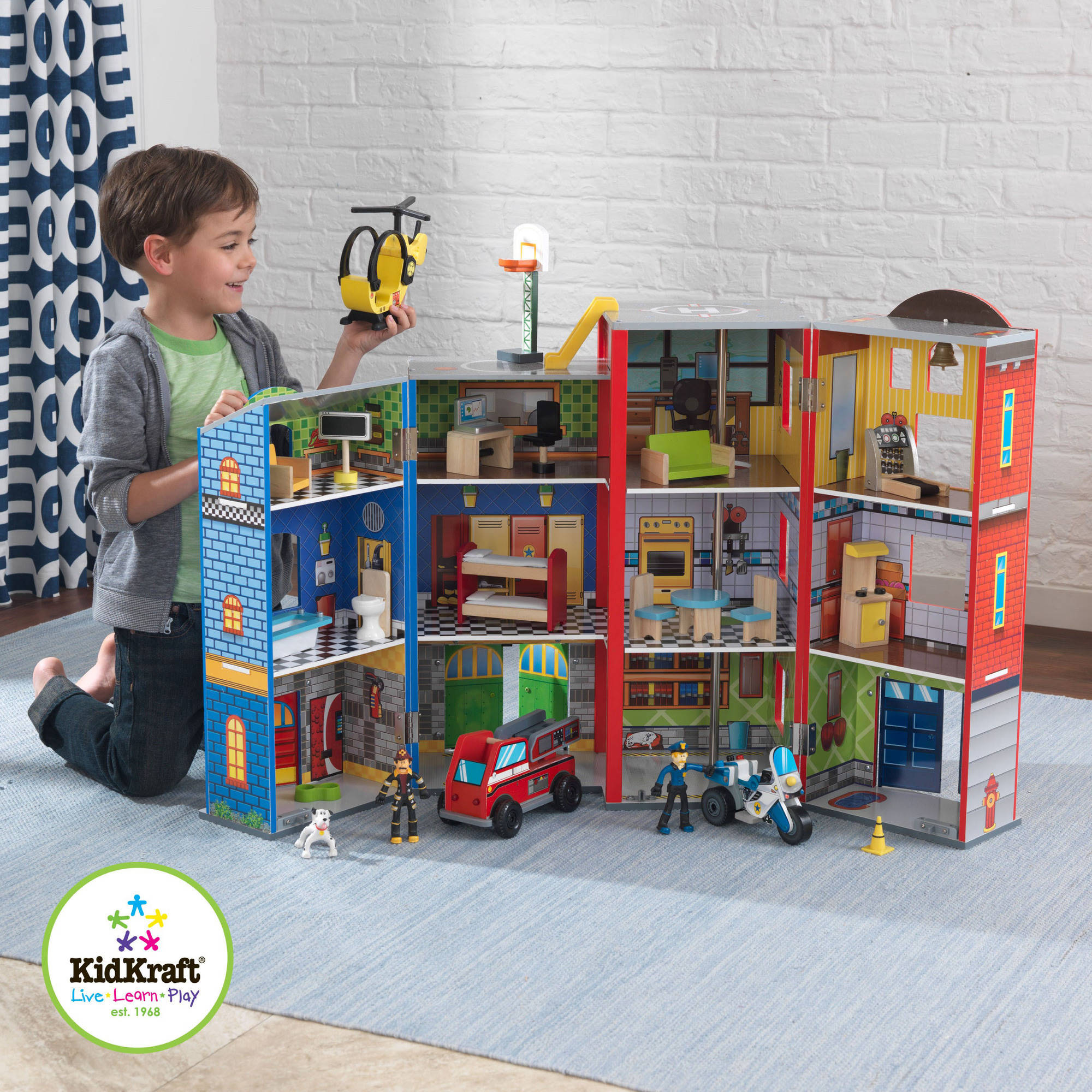 KidKraft Everyday Heroes Police and Fire Firefighters Play Set